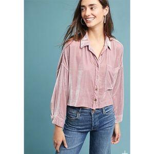 Mara Hoffman Velvet Button Down Pink Shirt